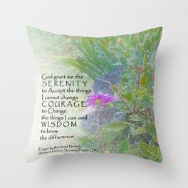 Serenity Prayer Late Summer Garden Throw Pillow