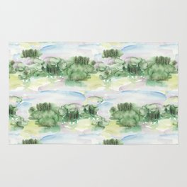 Watercolour Abstract Landscape Pattern Rug