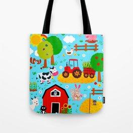 Farm Animals Blue Sky Barnyard Pattern Tote Bag