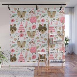 Pink Boho Animals Wall Mural
