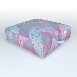 Geometrical pink teal watercolor splatters brushstrokes chevron Outdoor Floor Cushion