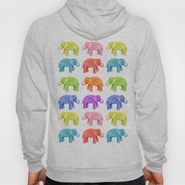 Colorful Parade of Elephants in Red, Orange, Yellow, Green, Blue, Purple and Pink Hoody