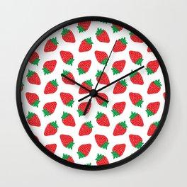 Cream Strawberries Pattern Wall Clock