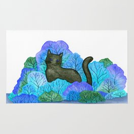 Blue Forest and Black Cat Watercolor Rug