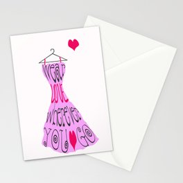 Wear Love Wherever You Go (Pink) Stationery Cards