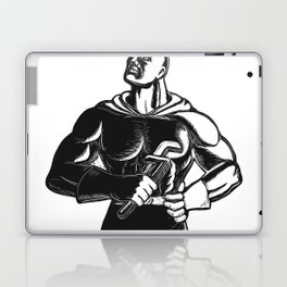 Superhero Plumber With Wrench Woodcut Laptop & iPad Skin