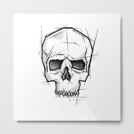 Skull Handmade Drawing, Made in pencil, charcoal and ink, Tattoo Sketch, Tattoo Flash, Sketch Metal Print