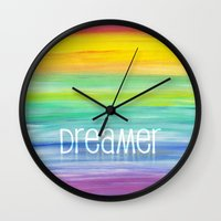 dreamer Wall Clocks featuring Dreamer by micklyn