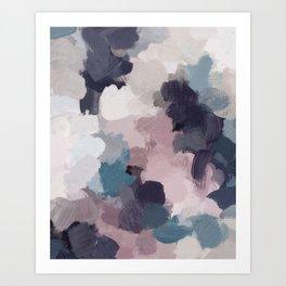 Teal Indigo Lavender Abstract Wall Art, Feminine Painting Print, Modern Wall Art Art Print