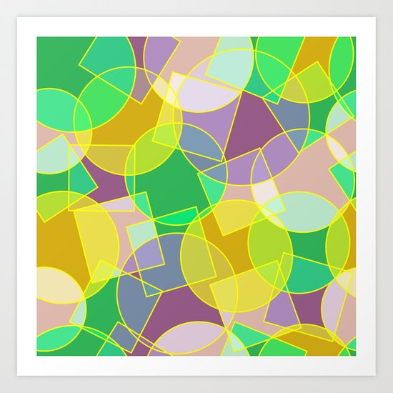 Colorful abstract geometric pattern Art Print