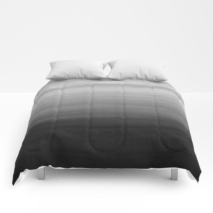 Touching Black Gray White Watercolor Abstract #1 #painting #decor #art #society6 Comforters