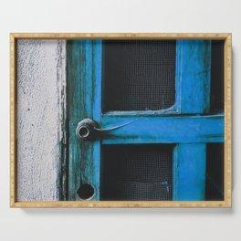 closeup old blue vintage wood door texture background Serving Tray