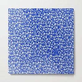 Vintage Flowers Sapphire Blue Metal Print