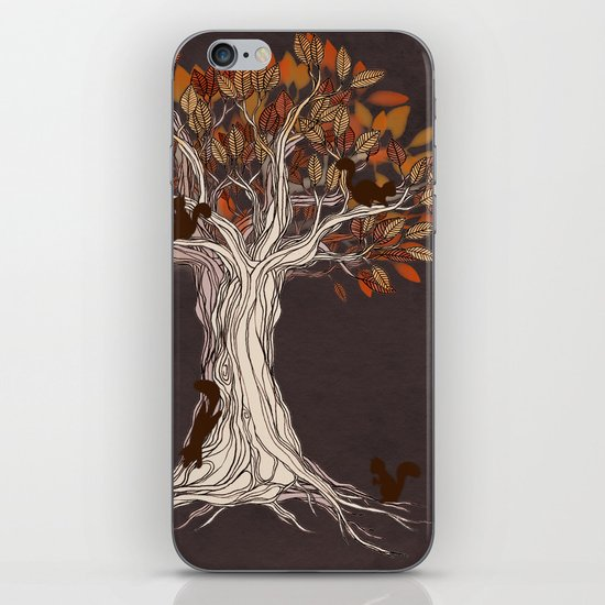 Little Visitors - Autumn tree illustration with squirrels iPhone & iPod Skin