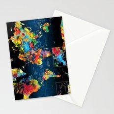 World Map Black - 2 Stationery Cards