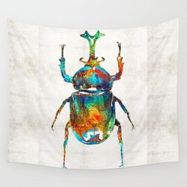 Colorful Beetle Art - Scarab Beauty - By Sharon Cummings Wall Tapestry