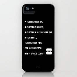 Big Smoke's Order (2 number 9s) gta san andreas drive thru mission typography text with burger icon iPhone Case