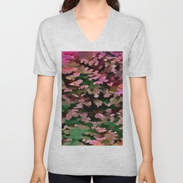 Foliage Abstract In Pink, Peach and Green Unisex V-Neck