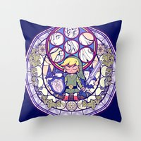 the legend of zelda Throw Pillows featuring The Legend Of Zelda by NicoleGrahamART