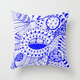 Leander Blue Throw Pillow