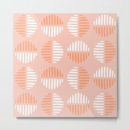 Peach Abstract Circles Metal Print