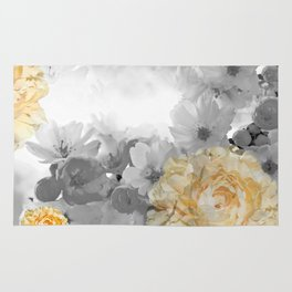 CHERRY BLOSSOMS AND YELLOW ROSES Rug