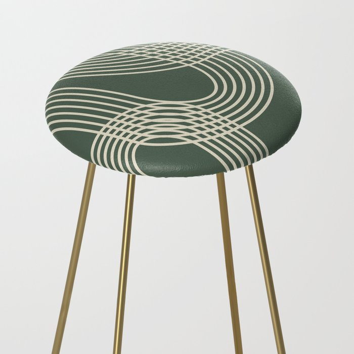 Minimalist Lines in Forest Green Counter Stool
