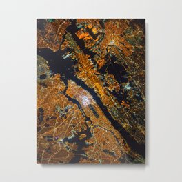 Manhattan at Night Metal Print