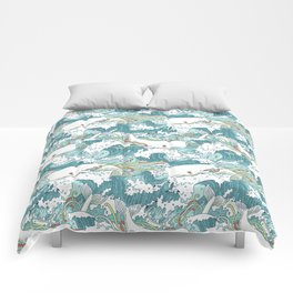 Whales and waves pattern Comforters