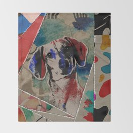 Dachshund Abstract mixed media digital art collage Throw Blanket