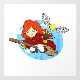 HP - Snitch Catcher - Ginger girl Art Print