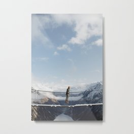 Austrian Suspension Bridge in Snow Metal Print