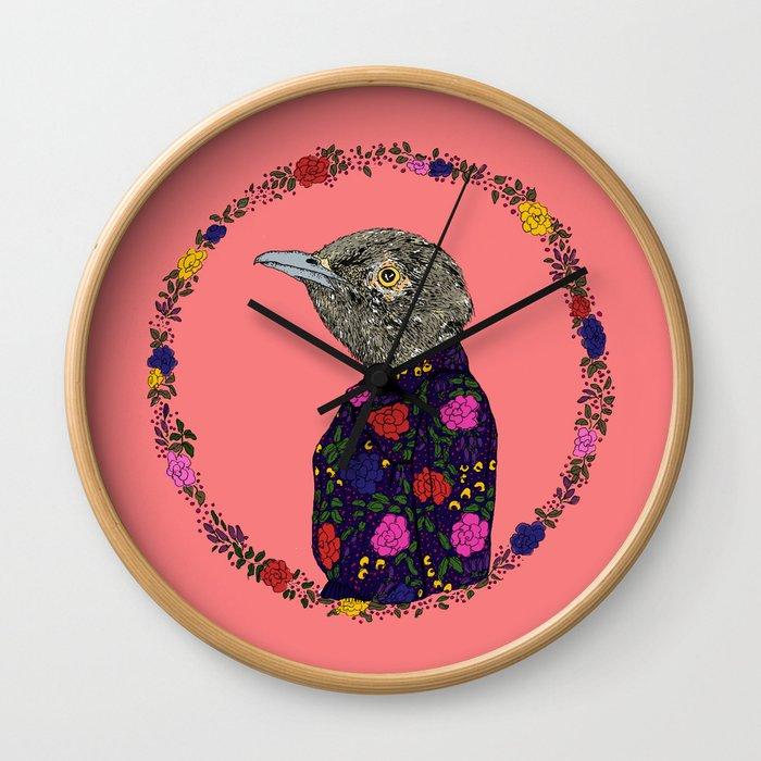 Floral Bird Wall Clock