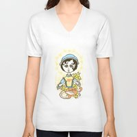 jane austen V-neck T-shirts featuring Jane Austen Holy Writer by roberto lanznaster