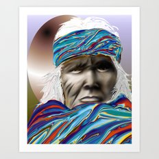 colorful blanket wrapping a native american gentleman Art Print