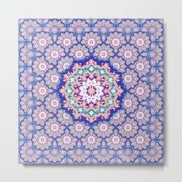 Ikat Mandala Magical Tiles Metal Print