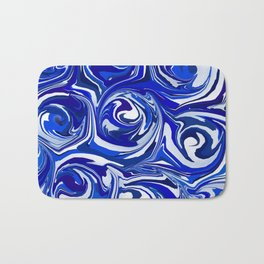 China Blue Paint Swirls Bath Mat