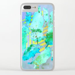 Boho Feather Zig Zag Collage | Watercolor Feather Art Print | Blue Aqua Yellow Art Print Clear iPhone Case