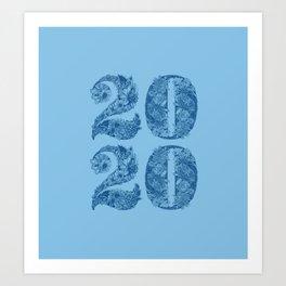 Happy Floral 2020 Classic Blue Art Print
