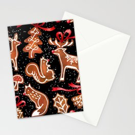 Watercolor gingerbread seamless pattern Stationery Cards