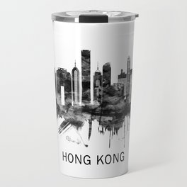 Hong Kong China Skyline BW Travel Mug