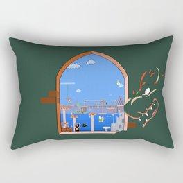 Our Hero Approaches (Green Background) - Mario Bros. Rectangular Pillow