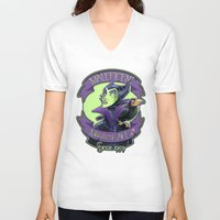 maleficent V-neck T-shirts featuring Maleficent by KanaHyde