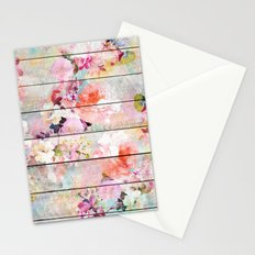 Summer pastel pink purple floral watercolor rustic striped wood pattern Stationery Cards