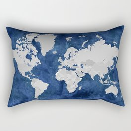 Dark blue watercolor and grey world map Rectangular Pillow