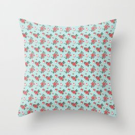 Blue Cupcake Florals Throw Pillow