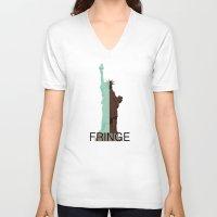 fringe V-neck T-shirts featuring Fringe. Statue of Liberty by Prosha Pro
