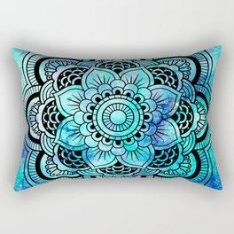 Galaxy Mandala Aqua Indigo Rectangular Pillow