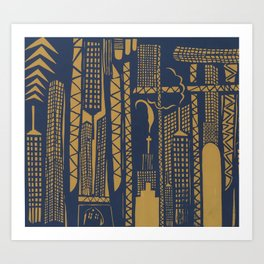 Metropolis [Navy / Yellow] Art Print