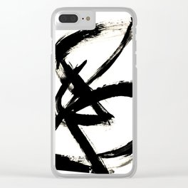 Brushstroke 3 - a simple black and white ink design Clear iPhone Case